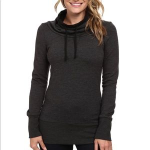 Icebreaker Boreal Long Sleeve Cowl Neck Sweater Grey Merino Wool Sz XS